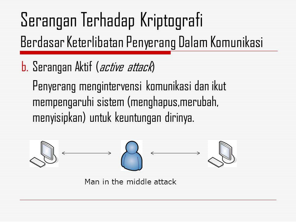 b.Serangan Aktif (active attack) Penyerang mengintervensi komunikasi dan ikut mempengaruhi sistem (menghapus,merubah, menyisipkan) untuk keuntungan dirinya.