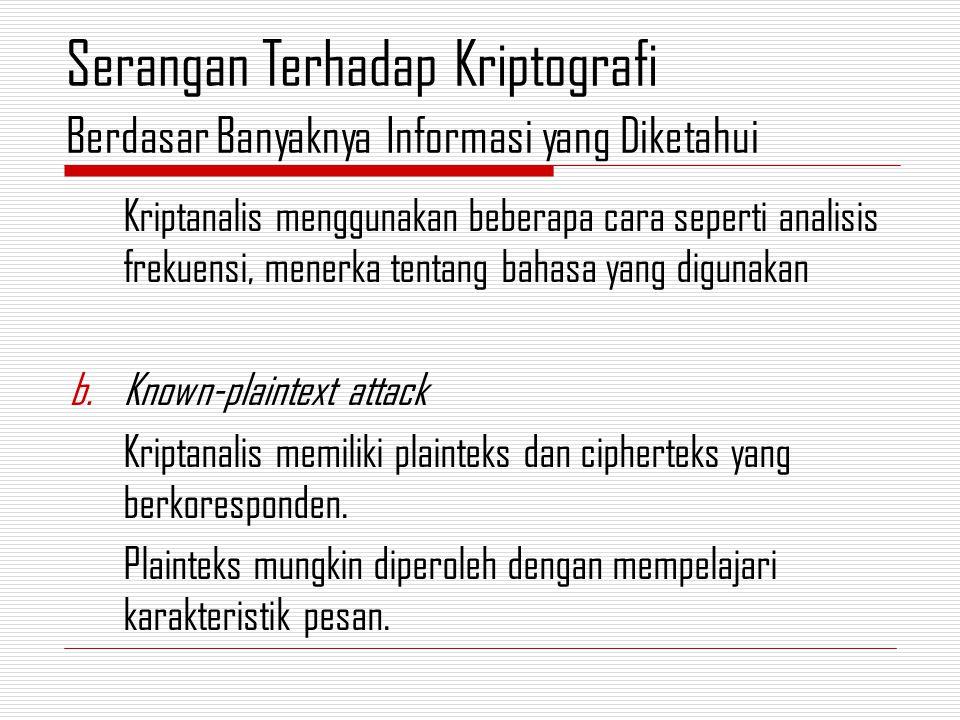 Kriptanalis menggunakan beberapa cara seperti analisis frekuensi, menerka tentang bahasa yang digunakan b.Known-plaintext attack Kriptanalis memiliki plainteks dan cipherteks yang berkoresponden.