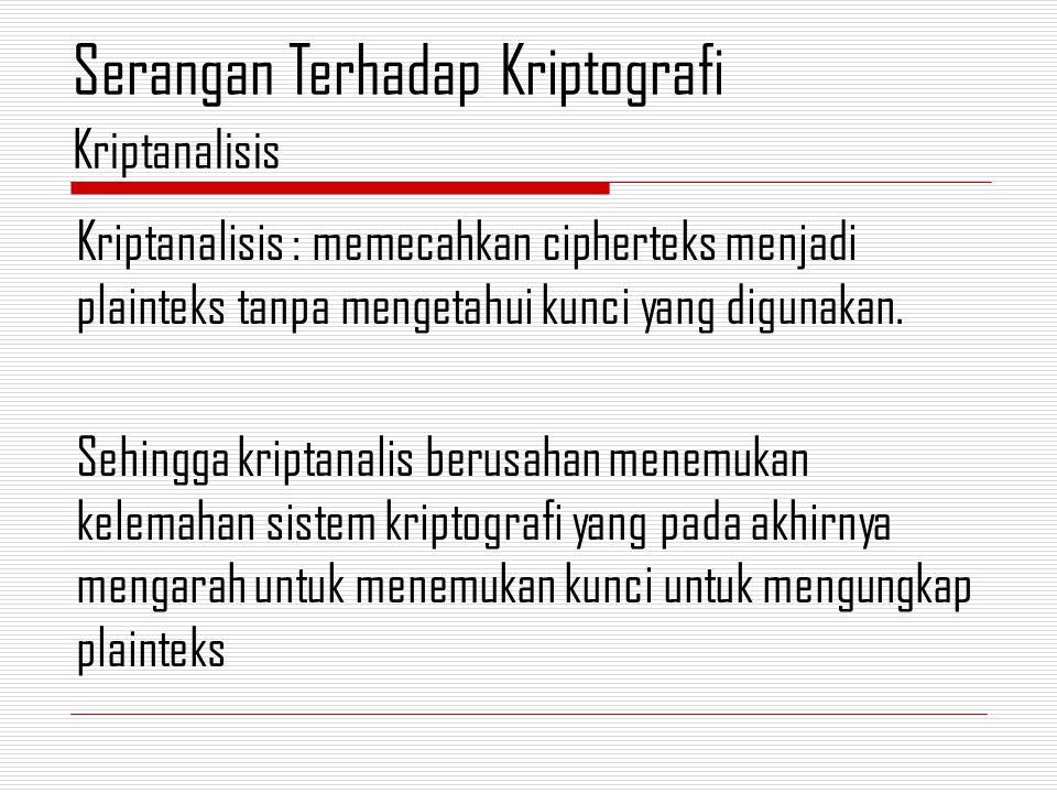 Artinya : Berapapun cipherteks yang dimiliki kriptanalis tidak memberikan informasi yang cukup untuk mendeteksi plainteksnya.