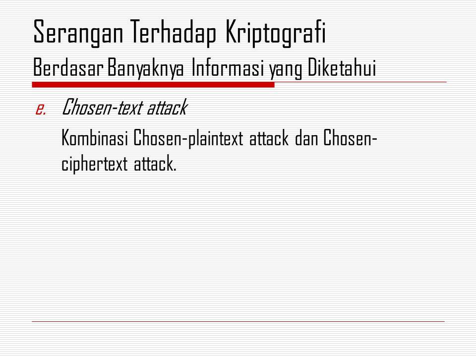 e.Chosen-text attack Kombinasi Chosen-plaintext attack dan Chosen- ciphertext attack.