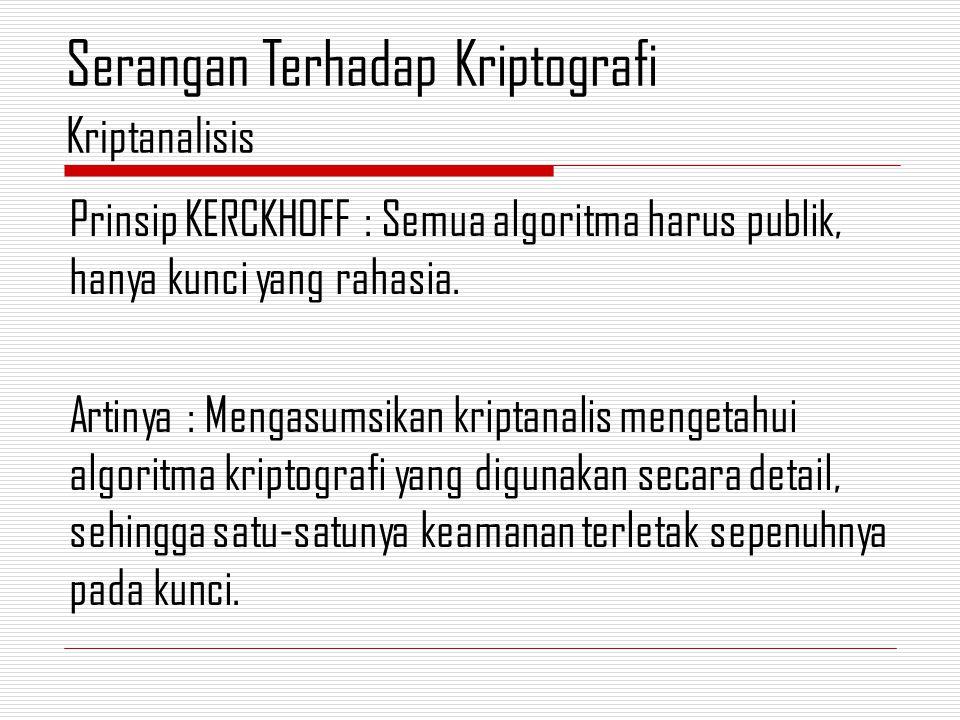 Prinsip KERCKHOFF : Semua algoritma harus publik, hanya kunci yang rahasia.