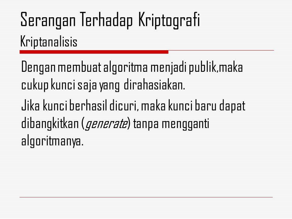 b.Analytical attack Kriptanalis tidak mencoba-coba semua kemungkinan kunci, tapi menganalisis kelemahan algoritma kriptografi untuk mengurangi kemungkinan kunci yang tidak berguna.