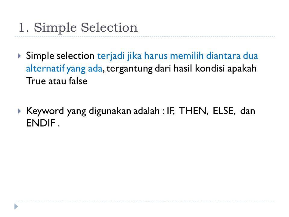 Struktur Kontrol Selection / Pemilihan  Ada beberapa variasi dari struktur kontrol selection yaitu: 1. Simple Selection (simple IF Statement) 2. Simp