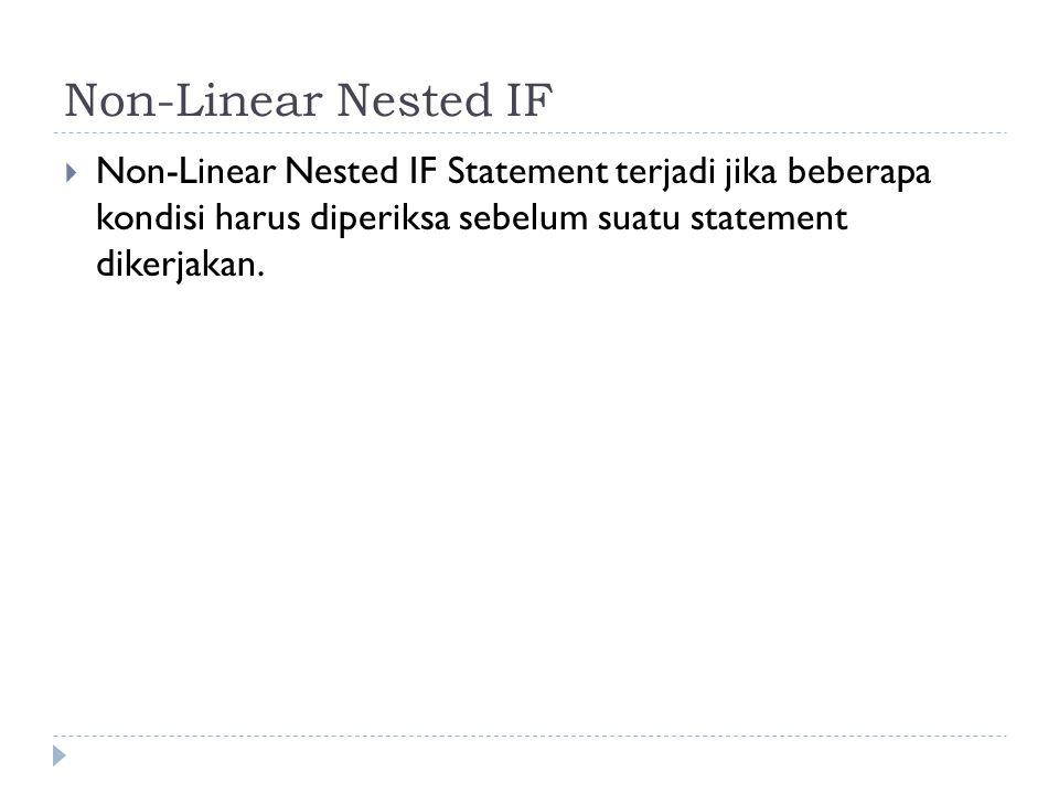 Linear Nested IF Statement  Linear Nested terjadi jika satu kondisi di cek untuk beberapa nilai.
