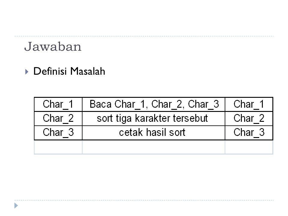 Jawaban  Algoritma Solusi Baca_Tiga_Karakter baca Char_1, Char _2, Char _3 If Char _1 > Char _2 THEN temp = Char _1 Char _1 = Char _2 Char _2 = temp