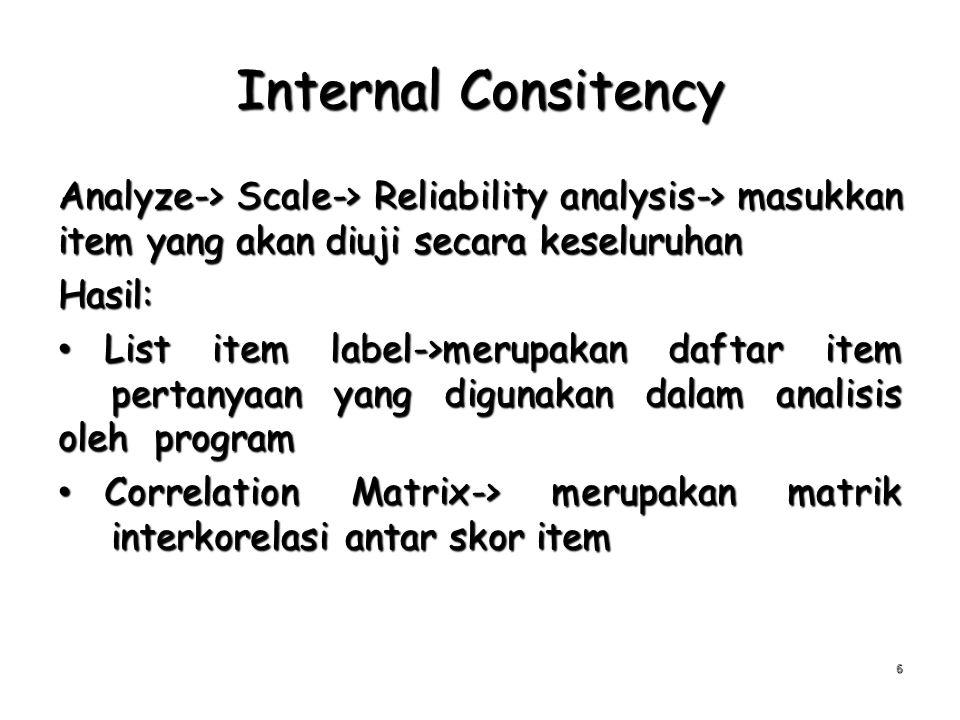 Internal Consitency Analyze-> Scale-> Reliability analysis-> masukkan item yang akan diuji secara keseluruhan Hasil: List item label->merupakan daftar
