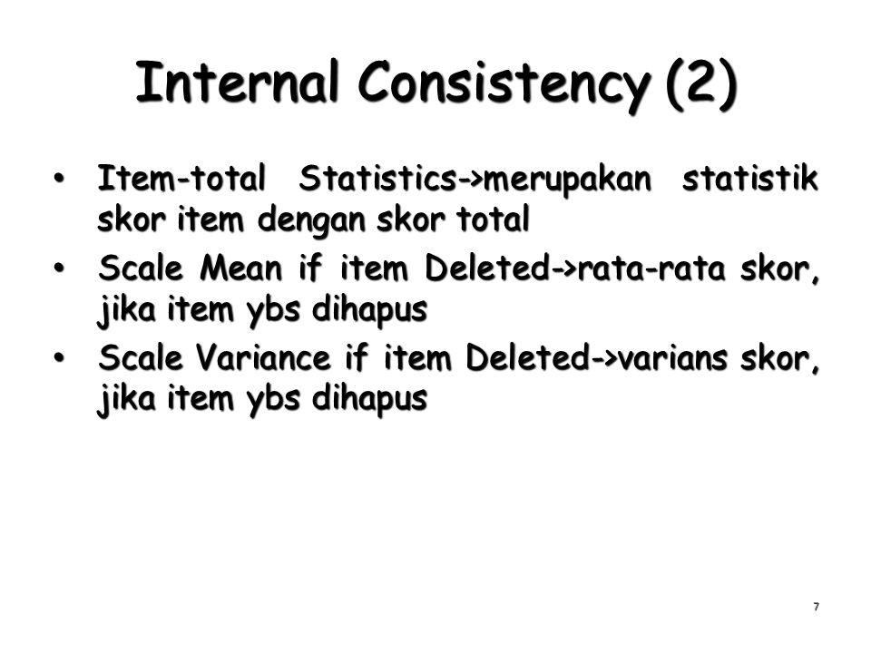 Internal Consistency (2) Item-total Statistics->merupakan statistik skor item dengan skor total Item-total Statistics->merupakan statistik skor item d