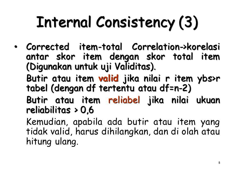 Internal Consistency (3) Corrected item-total Correlation->korelasi antar skor item dengan skor total item (Digunakan untuk uji Validitas). Corrected