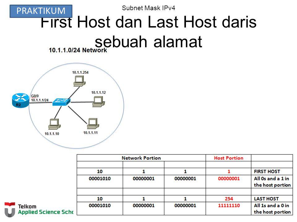 Subnet Mask IPv4 First Host dan Last Host daris sebuah alamat PRAKTIKUM