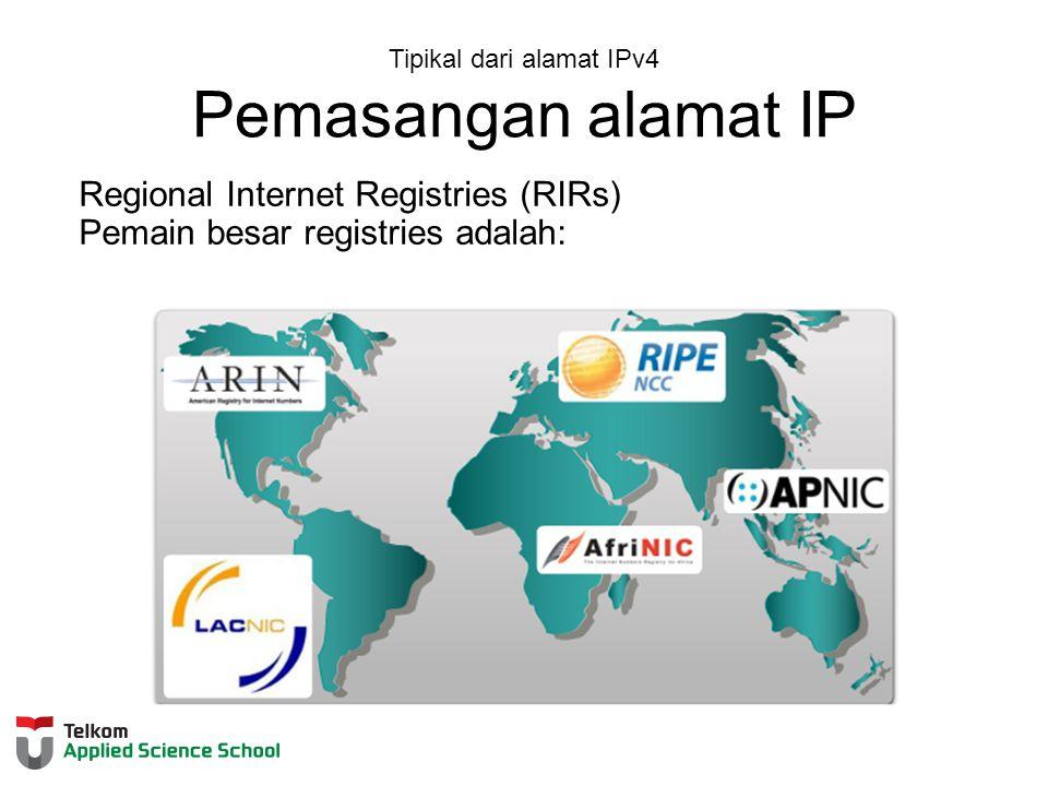 Tipikal dari alamat IPv4 Pemasangan alamat IP Regional Internet Registries (RIRs) Pemain besar registries adalah: