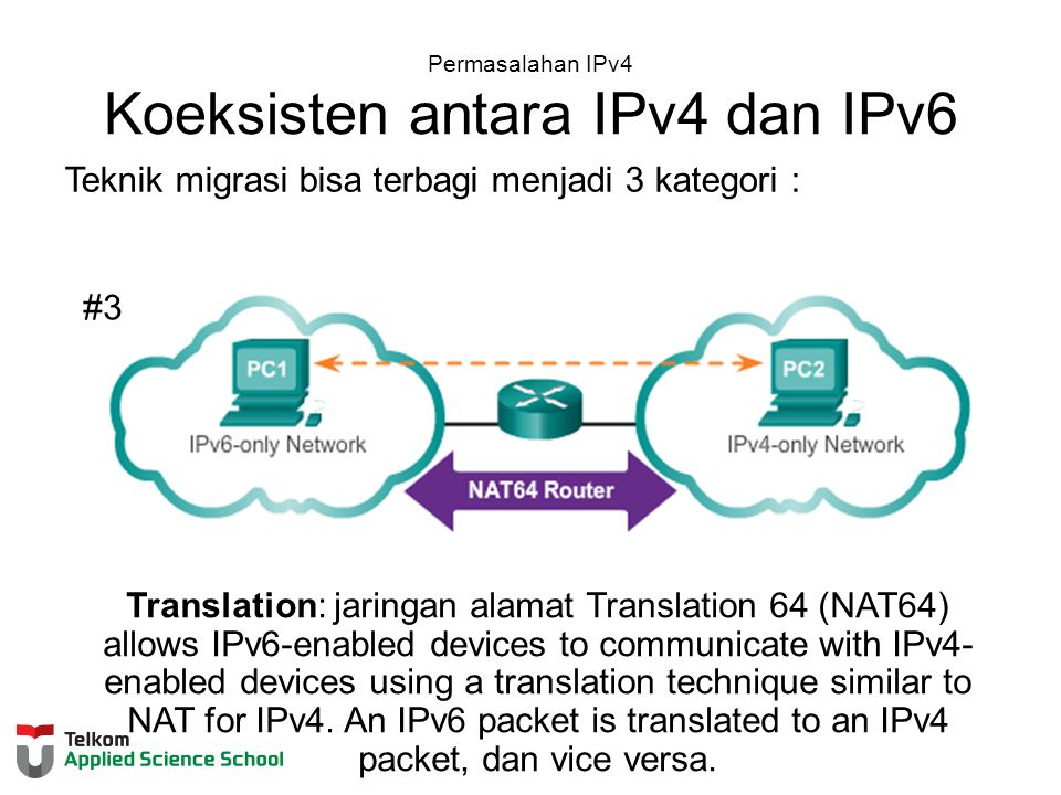 Permasalahan IPv4 Koeksisten antara IPv4 dan IPv6 Teknik migrasi bisa terbagi menjadi 3 kategori : #3 Translation: jaringan alamat Translation 64 (NAT64) allows IPv6-enabled devices to communicate with IPv4- enabled devices using a translation technique similar to NAT for IPv4.