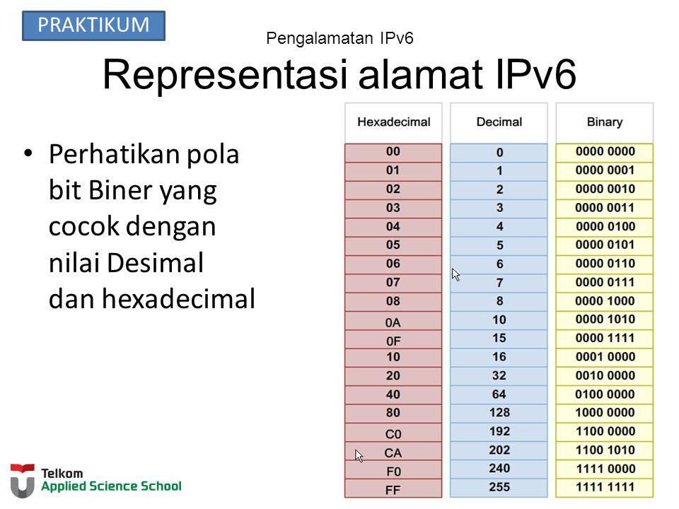 Pengalamatan IPv6 Representasi alamat IPv6 Perhatikan pola bit Biner yang cocok dengan nilai Desimal dan hexadecimal PRAKTIKUM