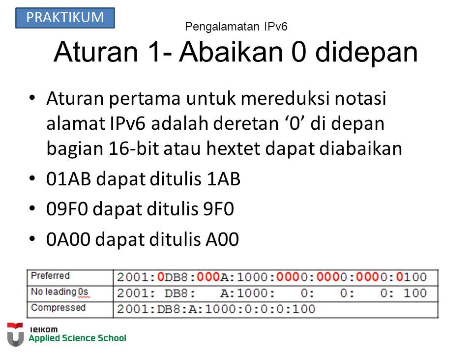Pengalamatan IPv6 Aturan 1- Abaikan 0 didepan Aturan pertama untuk mereduksi notasi alamat IPv6 adalah deretan '0' di depan bagian 16-bit atau hextet dapat diabaikan 01AB dapat ditulis 1AB 09F0 dapat ditulis 9F0 0A00 dapat ditulis A00 00AB can be represented as AB PRAKTIKUM