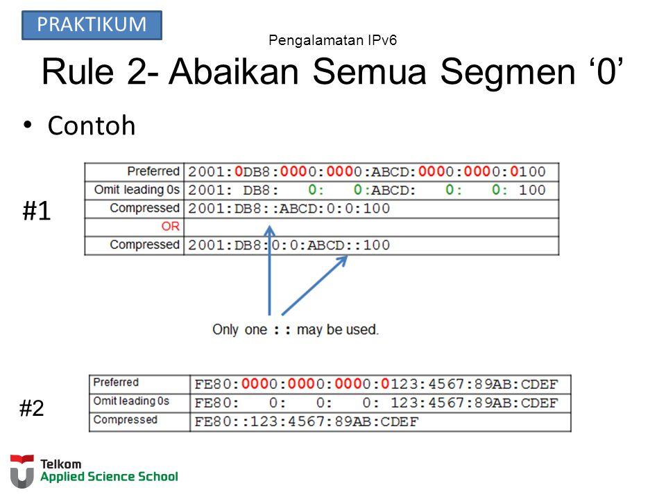 Pengalamatan IPv6 Rule 2- Abaikan Semua Segmen '0' Contoh #1 #2 PRAKTIKUM