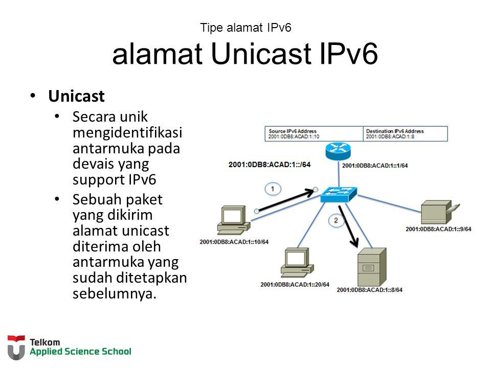 Tipe alamat IPv6 alamat Unicast IPv6 Unicast Secara unik mengidentifikasi antarmuka pada devais yang support IPv6 Sebuah paket yang dikirim alamat unicast diterima oleh antarmuka yang sudah ditetapkan sebelumnya.