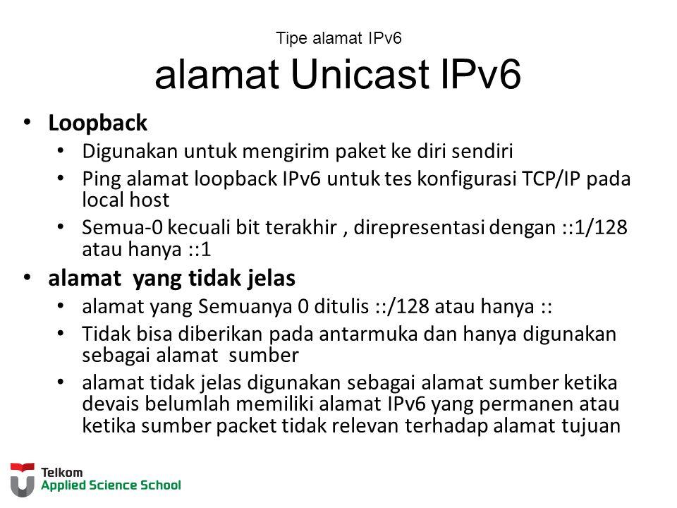 Tipe alamat IPv6 alamat Unicast IPv6 Loopback Digunakan untuk mengirim paket ke diri sendiri Ping alamat loopback IPv6 untuk tes konfigurasi TCP/IP pada local host Semua-0 kecuali bit terakhir, direpresentasi dengan ::1/128 atau hanya ::1 alamat yang tidak jelas alamat yang Semuanya 0 ditulis ::/128 atau hanya :: Tidak bisa diberikan pada antarmuka dan hanya digunakan sebagai alamat sumber alamat tidak jelas digunakan sebagai alamat sumber ketika devais belumlah memiliki alamat IPv6 yang permanen atau ketika sumber packet tidak relevan terhadap alamat tujuan
