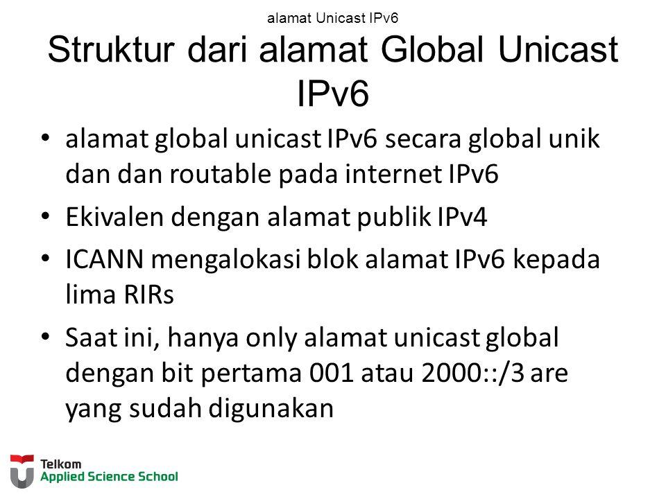 alamat Unicast IPv6 Struktur dari alamat Global Unicast IPv6 alamat global unicast IPv6 secara global unik dan dan routable pada internet IPv6 Ekivalen dengan alamat publik IPv4 ICANN mengalokasi blok alamat IPv6 kepada lima RIRs Saat ini, hanya only alamat unicast global dengan bit pertama 001 atau 2000::/3 are yang sudah digunakan