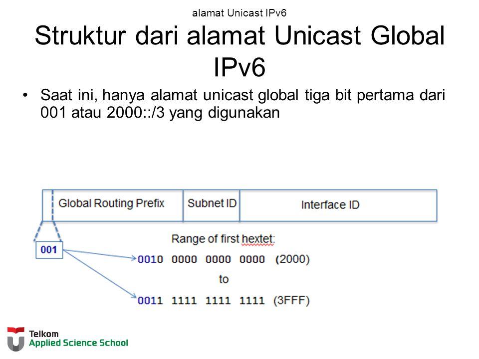 alamat Unicast IPv6 Struktur dari alamat Unicast Global IPv6 Saat ini, hanya alamat unicast global tiga bit pertama dari 001 atau 2000::/3 yang digunakan