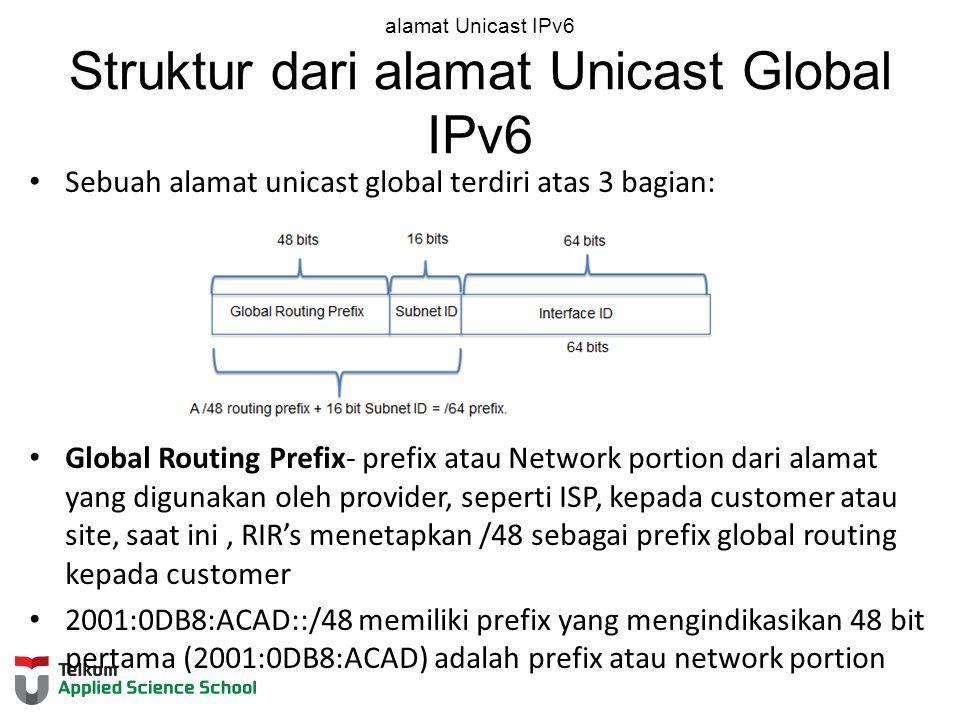 alamat Unicast IPv6 Struktur dari alamat Unicast Global IPv6 Sebuah alamat unicast global terdiri atas 3 bagian: Global Routing Prefix- prefix atau Network portion dari alamat yang digunakan oleh provider, seperti ISP, kepada customer atau site, saat ini, RIR's menetapkan /48 sebagai prefix global routing kepada customer 2001:0DB8:ACAD::/48 memiliki prefix yang mengindikasikan 48 bit pertama (2001:0DB8:ACAD) adalah prefix atau network portion