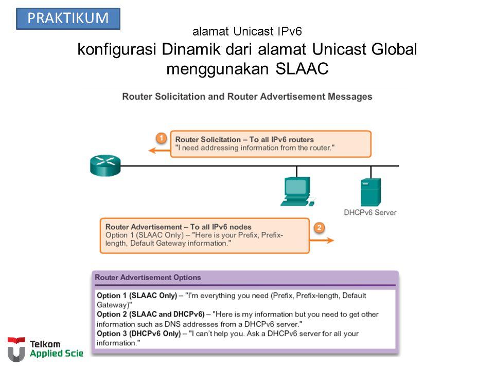 alamat Unicast IPv6 konfigurasi Dinamik dari alamat Unicast Global menggunakan SLAAC PRAKTIKUM