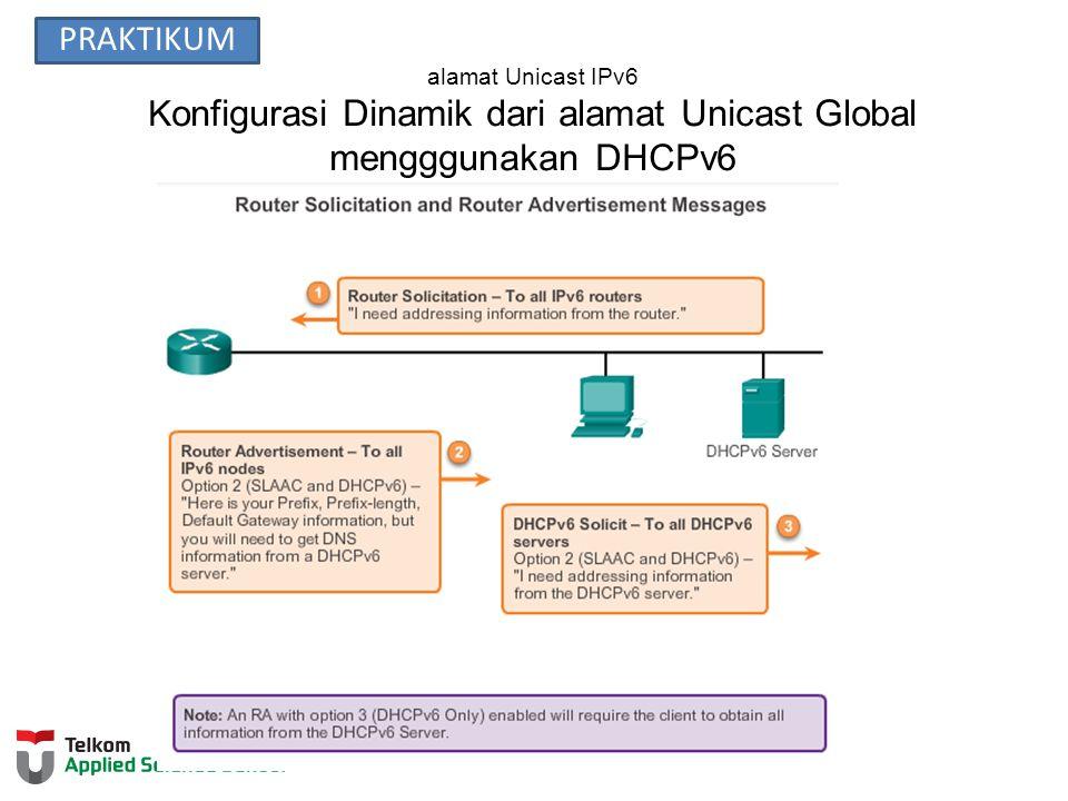 alamat Unicast IPv6 K onfigurasi Dinamik dari alamat Unicast Global mengggunakan DHCPv6 PRAKTIKUM
