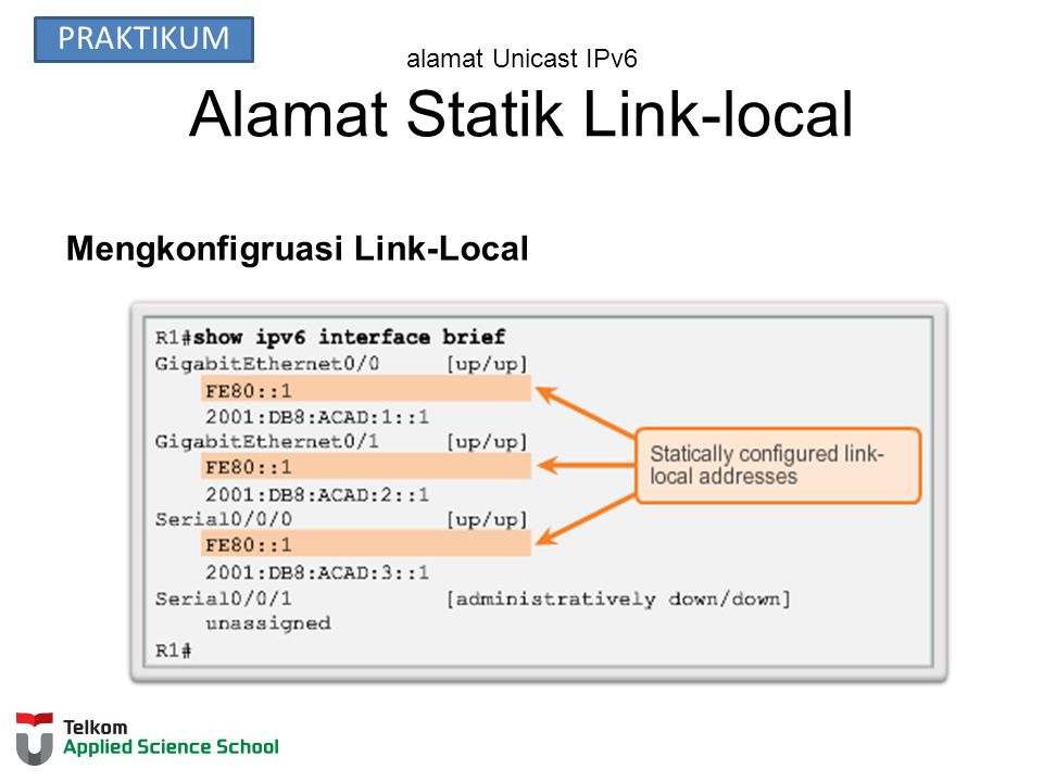 alamat Unicast IPv6 Alamat Statik Link-local Mengkonfigruasi Link-Local PRAKTIKUM