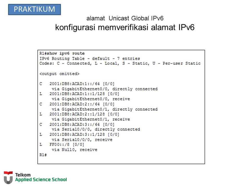 alamat Unicast Global IPv6 konfigurasi memverifikasi alamat IPv6 PRAKTIKUM