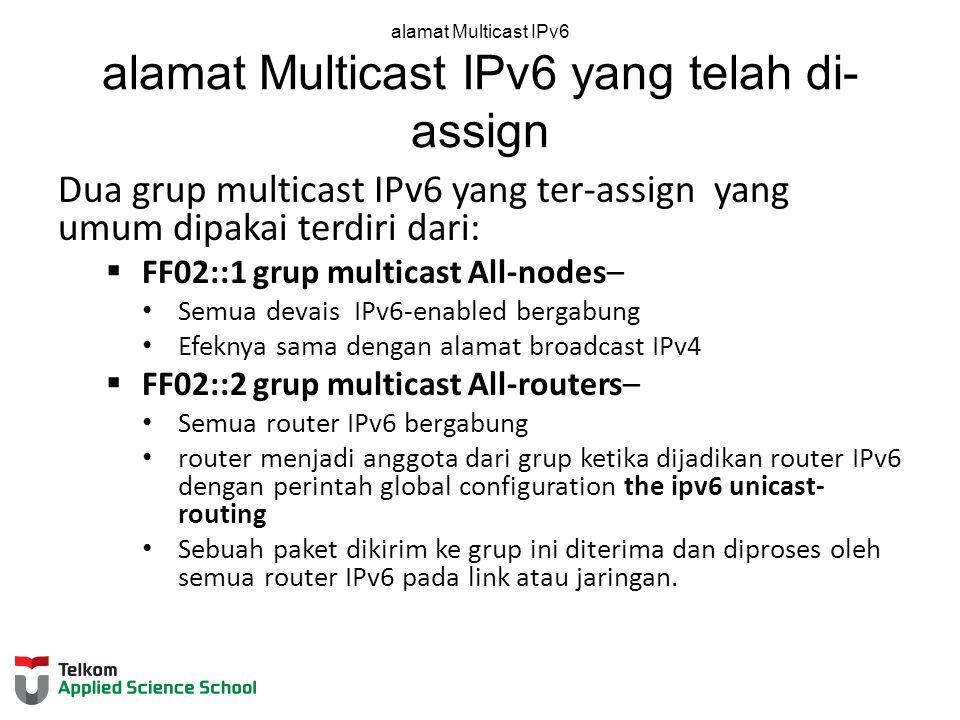 alamat Multicast IPv6 alamat Multicast IPv6 yang telah di- assign Dua grup multicast IPv6 yang ter-assign yang umum dipakai terdiri dari:  FF02::1 grup multicast All-nodes– Semua devais IPv6-enabled bergabung Efeknya sama dengan alamat broadcast IPv4  FF02::2 grup multicast All-routers– Semua router IPv6 bergabung router menjadi anggota dari grup ketika dijadikan router IPv6 dengan perintah global configuration the ipv6 unicast- routing Sebuah paket dikirim ke grup ini diterima dan diproses oleh semua router IPv6 pada link atau jaringan.