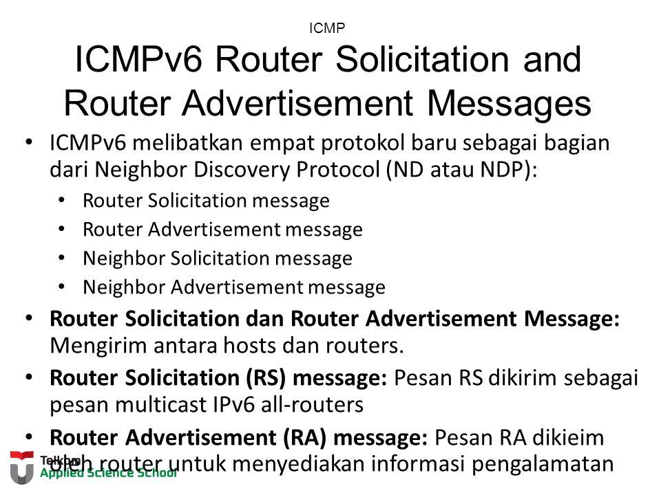 ICMP ICMPv6 Router Solicitation and Router Advertisement Messages ICMPv6 melibatkan empat protokol baru sebagai bagian dari Neighbor Discovery Protoco