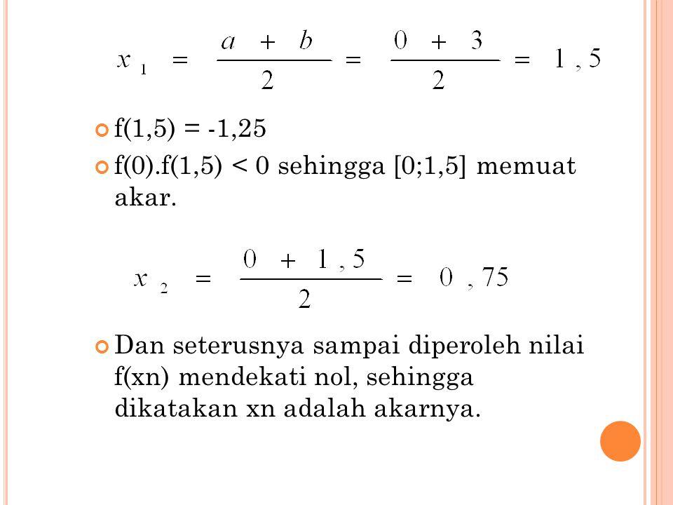 f(1,5) = -1,25 f(0).f(1,5) < 0 sehingga [0;1,5] memuat akar. Dan seterusnya sampai diperoleh nilai f(xn) mendekati nol, sehingga dikatakan xn adalah a