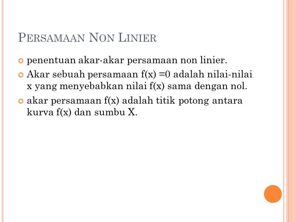 P ERSAMAAN N ON L INIER penentuan akar-akar persamaan non linier. Akar sebuah persamaan f(x) =0 adalah nilai-nilai x yang menyebabkan nilai f(x) sama
