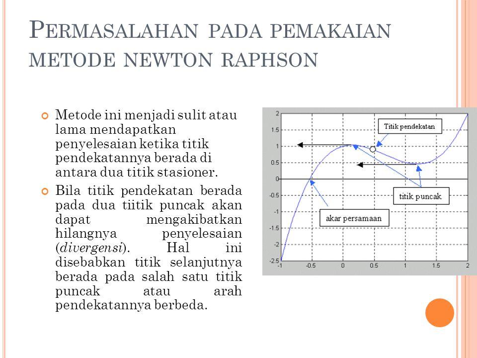 P ERMASALAHAN PADA PEMAKAIAN METODE NEWTON RAPHSON Metode ini menjadi sulit atau lama mendapatkan penyelesaian ketika titik pendekatannya berada di an