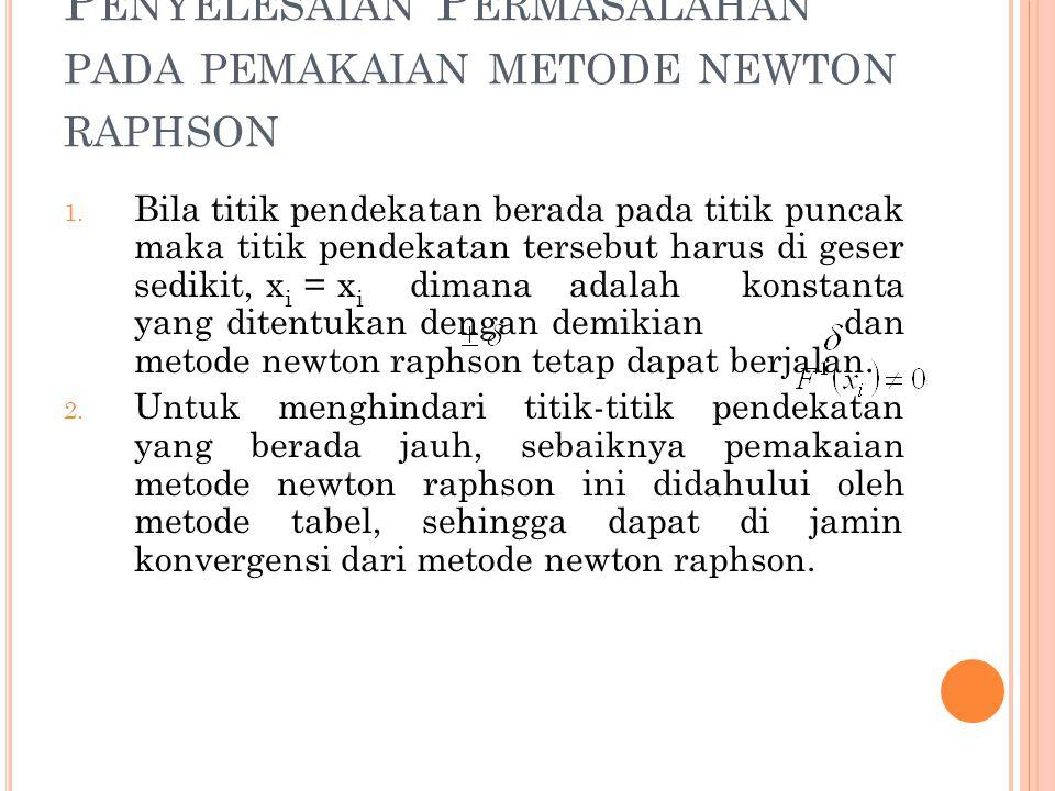 P ENYELESAIAN P ERMASALAHAN PADA PEMAKAIAN METODE NEWTON RAPHSON 1. Bila titik pendekatan berada pada titik puncak maka titik pendekatan tersebut haru
