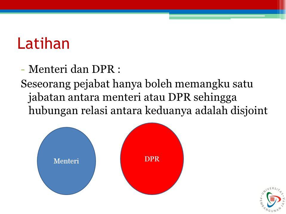 Latihan -Menteri dan DPR : Seseorang pejabat hanya boleh memangku satu jabatan antara menteri atau DPR sehingga hubungan relasi antara keduanya adalah