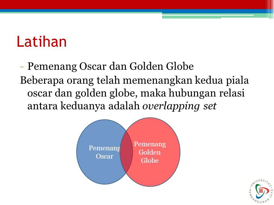 Latihan -Pemenang Oscar dan Golden Globe Beberapa orang telah memenangkan kedua piala oscar dan golden globe, maka hubungan relasi antara keduanya ada