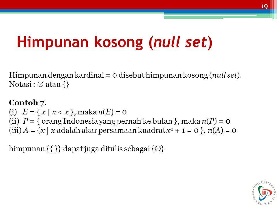 19 Himpunan kosong (null set) Himpunan dengan kardinal = 0 disebut himpunan kosong (null set). Notasi :  atau {} Contoh 7. (i) E = { x | x < x }, mak