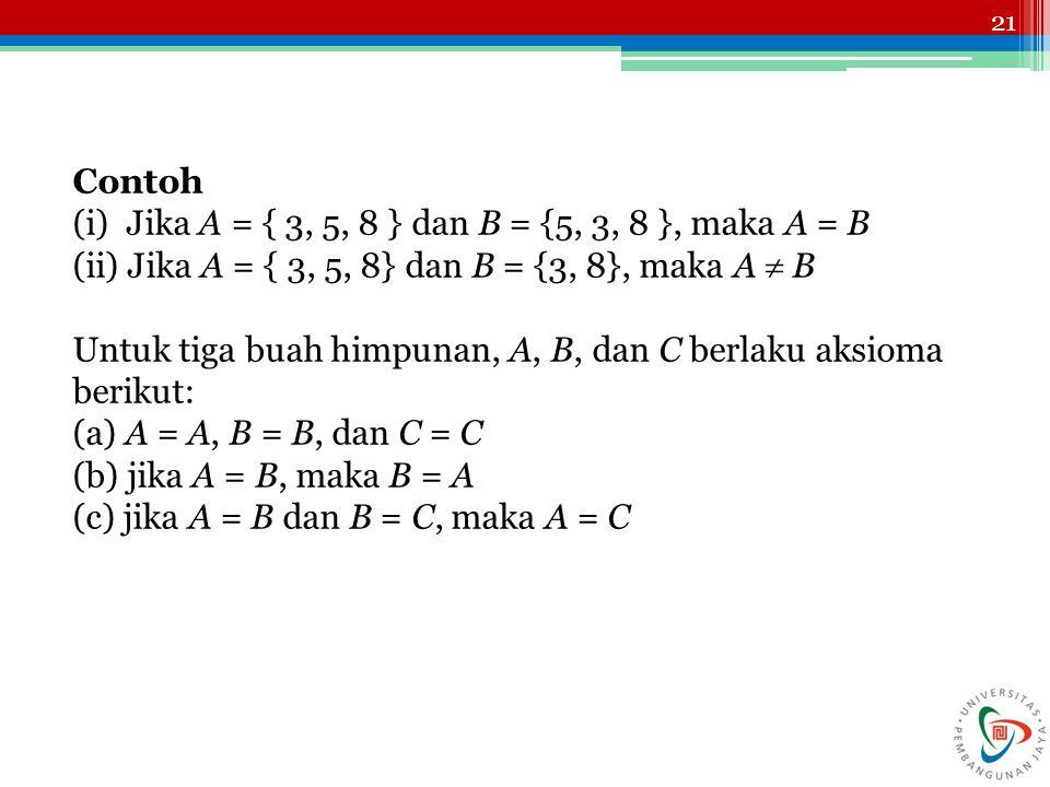 21 Contoh (i) Jika A = { 3, 5, 8 } dan B = {5, 3, 8 }, maka A = B (ii) Jika A = { 3, 5, 8} dan B = {3, 8}, maka A  B Untuk tiga buah himpunan, A, B,