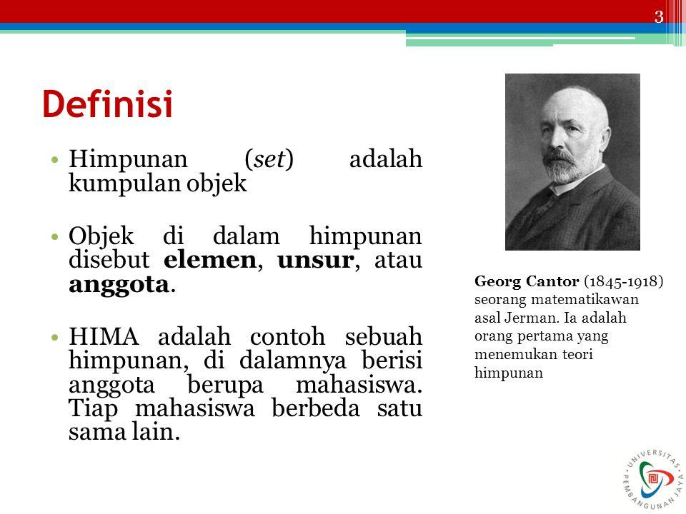 3 Definisi Himpunan (set) adalah kumpulan objek Objek di dalam himpunan disebut elemen, unsur, atau anggota. HIMA adalah contoh sebuah himpunan, di da