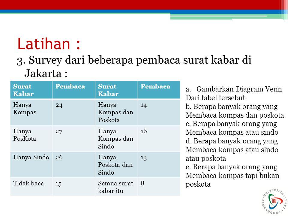 Latihan : 3. Survey dari beberapa pembaca surat kabar di Jakarta : Surat Kabar PembacaSurat Kabar Pembaca Hanya Kompas 24Hanya Kompas dan Poskota 14 H