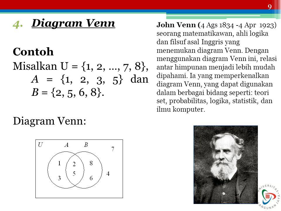 9 4.Diagram Venn Contoh Misalkan U = {1, 2, …, 7, 8}, A = {1, 2, 3, 5} dan B = {2, 5, 6, 8}. Diagram Venn: John Venn (4 Ags 1834 -4 Apr 1923) seorang