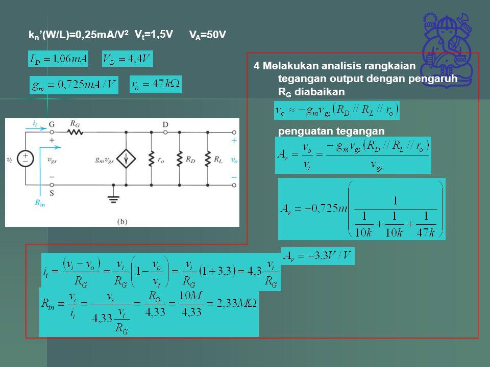 k n '(W/L)=0,25mA/V 2 V t =1,5V V A =50V 4 Melakukan analisis rangkaian tegangan output dengan pengaruh R G diabaikan penguatan tegangan