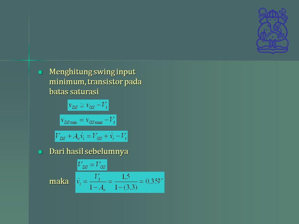 Menghitung swing input minimum, transistor pada batas saturasi Menghitung swing input minimum, transistor pada batas saturasi Dari hasil sebelumnya ma