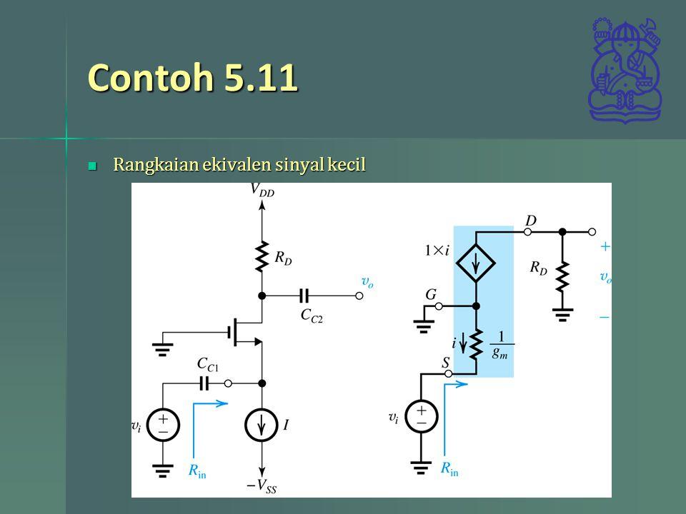 Contoh 5.11 Rangkaian ekivalen sinyal kecil Rangkaian ekivalen sinyal kecil