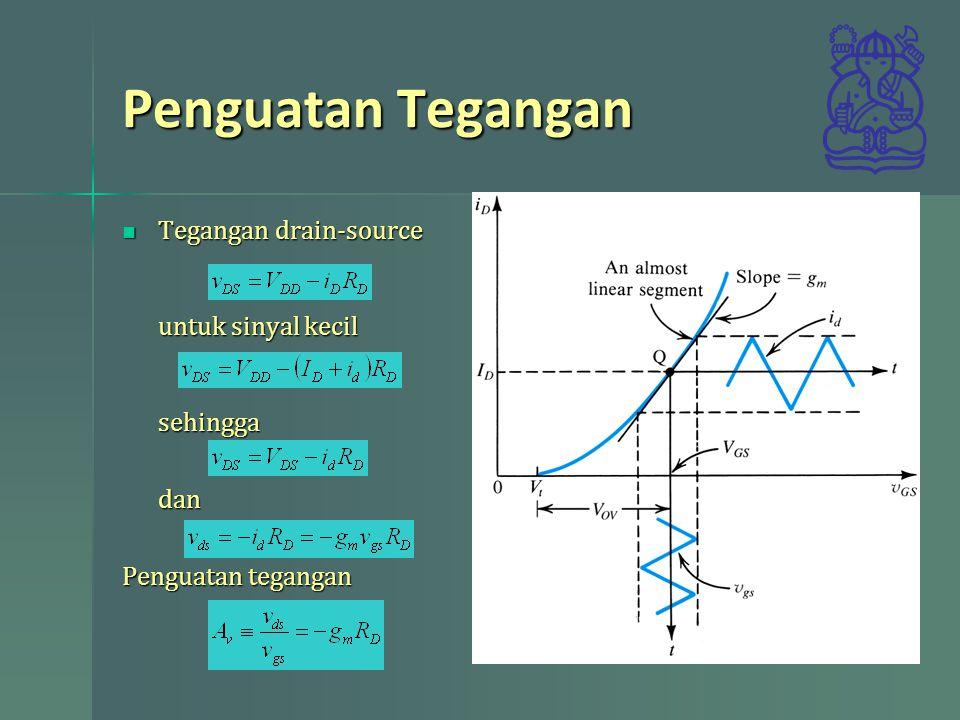 Memisahkan Analisis DC dan AC Dengan diperolehnya persamaan sinyal kecil analisis sinyal dapat dilakukan terpisah DC terlebih dahulu kemudian ac dengan persamaan sinyal kecil tersebut Dengan diperolehnya persamaan sinyal kecil analisis sinyal dapat dilakukan terpisah DC terlebih dahulu kemudian ac dengan persamaan sinyal kecil tersebut Hasilnya merupakan superposisi Hasilnya merupakan superposisi