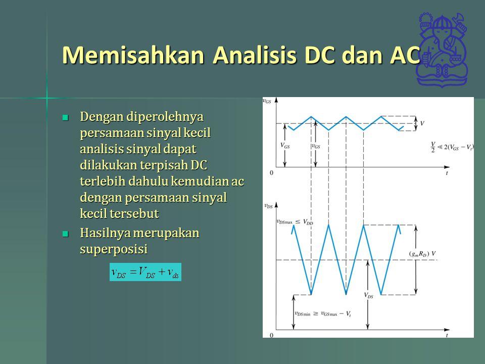 Model Rangkaian Ekivalen Sinyal Kecil Dari persamaan arus dapat dinyatakan dalam rangkaian Dari persamaan arus dapat dinyatakan dalam rangkaian Bila memperhitungkan perubahan panjang kanal tambahkan resistansi output dimana Bila memperhitungkan perubahan panjang kanal tambahkan resistansi output dimana
