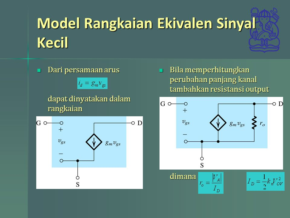 Model Rangkaian Ekivalen Sinyal Kecil Dari persamaan arus dapat dinyatakan dalam rangkaian Dari persamaan arus dapat dinyatakan dalam rangkaian Bila m