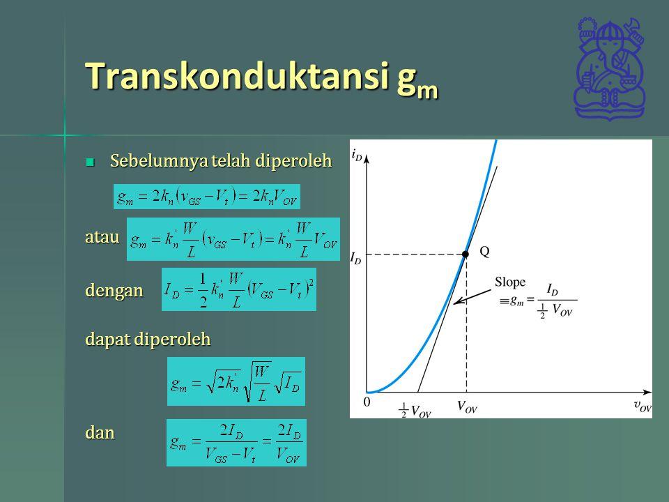 Contoh 5.10 Lakukan analisis untuk rangkaian berikut Av, Rin, dan swing maksimum dengan k n '(W/L)=0,25mA/V 2 V t =1,5V V A =50V Lakukan analisis untuk rangkaian berikut Av, Rin, dan swing maksimum dengan k n '(W/L)=0,25mA/V 2 V t =1,5V V A =50V