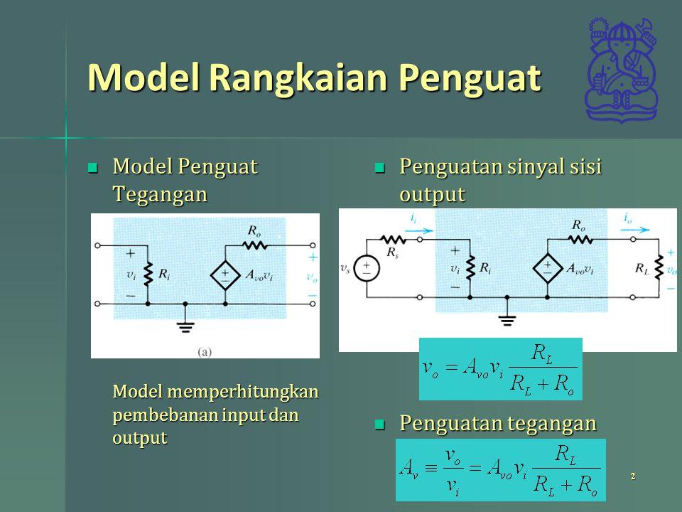 Model Rangkaian Penguat Penguatan sinyal sisi input Penguatan sinyal sisi input Penguatan keseluruhan (memperhitungkan pembebanan keseluruhan) Penguatan keseluruhan (memperhitungkan pembebanan keseluruhan) 3