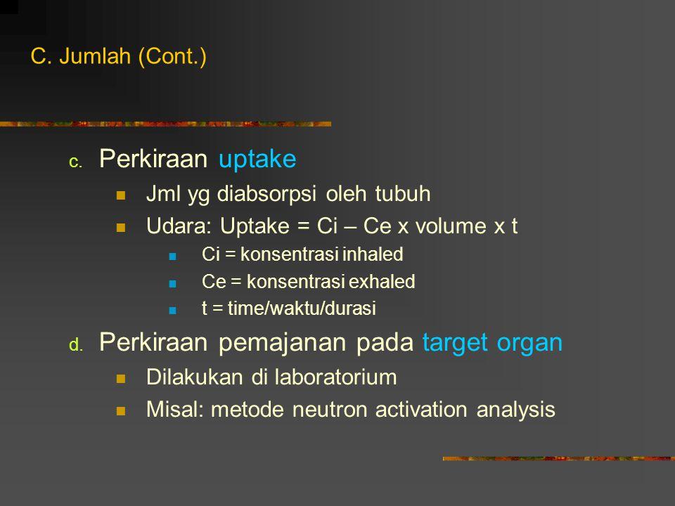 c. Perkiraan uptake Jml yg diabsorpsi oleh tubuh Udara: Uptake = Ci – Ce x volume x t Ci = konsentrasi inhaled Ce = konsentrasi exhaled t = time/waktu