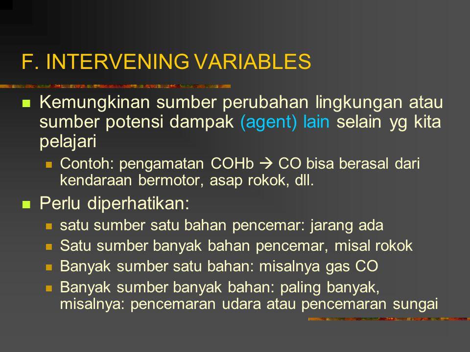 F. INTERVENING VARIABLES Kemungkinan sumber perubahan lingkungan atau sumber potensi dampak (agent) lain selain yg kita pelajari Contoh: pengamatan CO